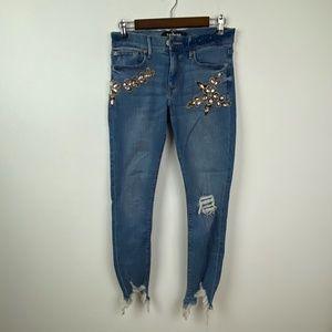 Express Embellished Distressed Jeans